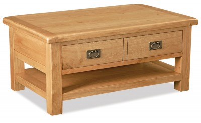 Erne Oak large coffee table with drawer and shelf