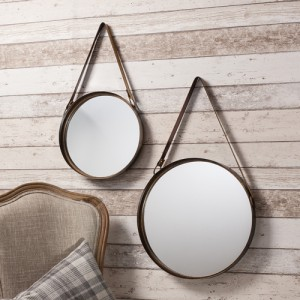 Marston mirrors with leather hanging strap 16 + 12in SALE £46 SET OF 2