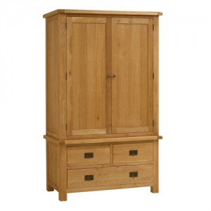 Erne oak 3 drawer 2 door wardrobe