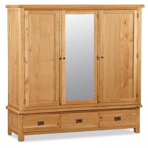 Erne oak extra large triple 3 door wardrobe with mirror