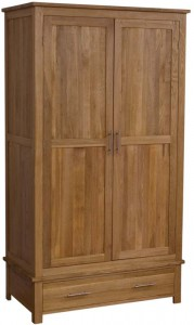 Modern classic Solid Oak gents wardrobe with drawer