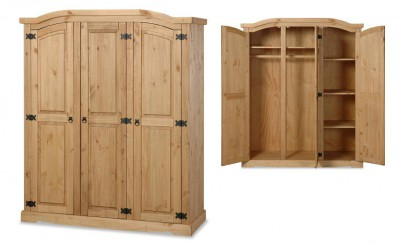 Corona Mexican pine 3 door triple wardrobe