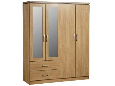 Carlos light oak 4 door wardrobe