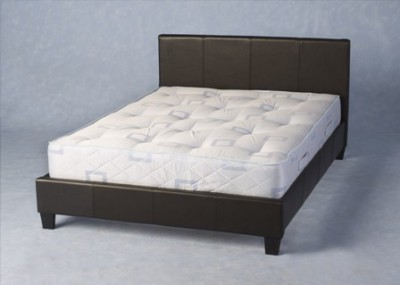 Faux leather double beds in dark brown or black