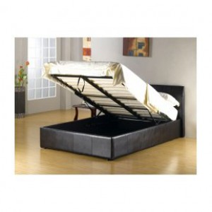 Faux leather storage double bed in dark brown or black