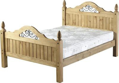 Corona mexican pine metal scroll 4ft6 double bed