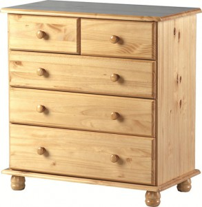 Classic pine 2 over 3 chest of drawers