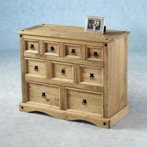 Corona Mexican Pine 9 drawer merchants chest
