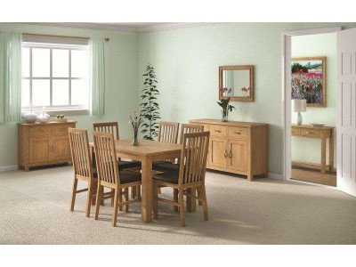 Tuscan oak compact extending dining table