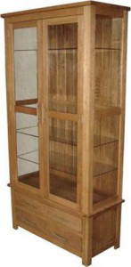 Modern classic solid oak glazed display cabinet