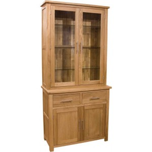 Modern classic solid oak narrow buffet hutch display cabinet