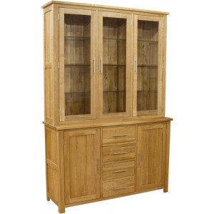 Modern classic solid oak wide buffet hutch display cabinet