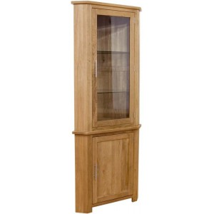 Modern classic solid oak corner glazed display cabinet
