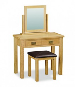 Erne lite oak dressing table set including stool & mirror