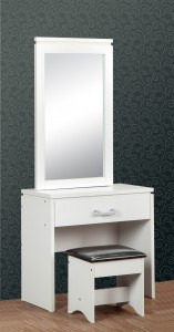 Carlos white narrow dressing table set with storage mirror