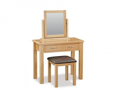 Tuscan oak dressing table set including stool & mirror