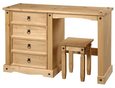 Corona Mexican pine single pedestal dressing table