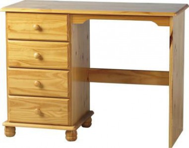 Classic pine single pedestal dressing table
