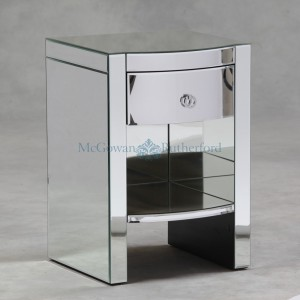 Mirrored 1 drawer Lamp Table