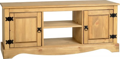 Corona Mexican pine wide 2 door TV unit