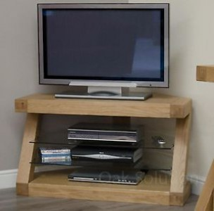 Z Designer Solid Oak Corner TV Unit