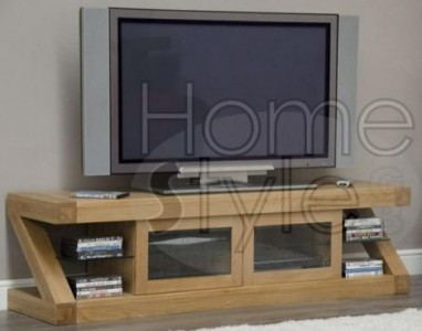 Z Designer Solid Oak Glazed TV Unit