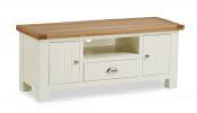 New England 4ft cream and oak TV Cabinet with drawer