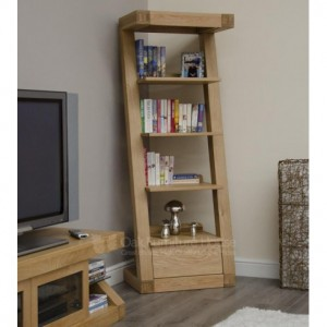 Z Designer Solid Oak Tall Narrow Bookcase