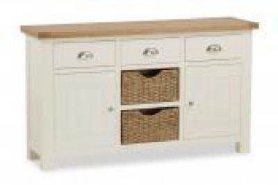 New England Large cream and oak Sideboard with baskets