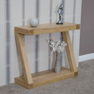 Z Designer Solid Oak Hall Table with Drawer