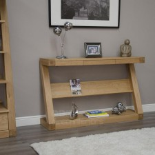 Z Designer Solid Oak Console Table with shelf