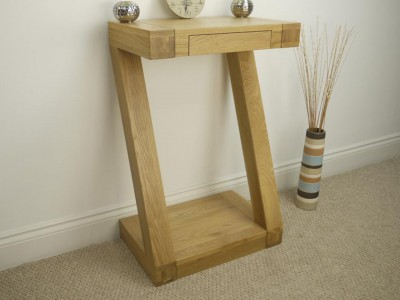 Z Designer Solid Oak Small Console Table with drawer