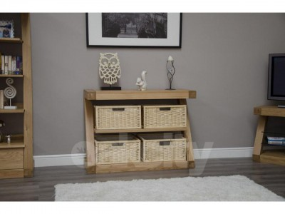 Z Designer Solid Oak Console Table with baskets