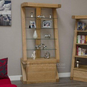 Z Designer Solid Oak Display Cabinet with Light