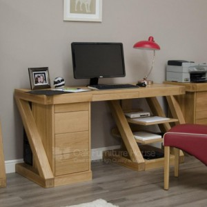 Z designer oak large computer desk