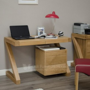 Z designer oak small computer desk