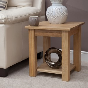 Modern classic solid oak lamp table with no drawer