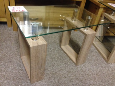 Sonoma oak effect glass lamp table