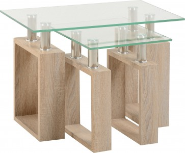 Sonoma oak effect glass nest of tables
