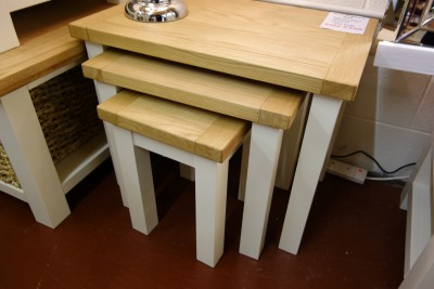 New England cream and oak nest of tables