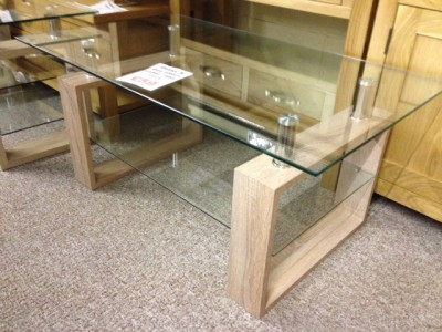 Sonoma oak effect and glass coffee table