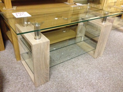 Sonoma oak effect & glass TV unit