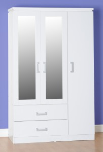 Carlos White 3 door triple wardrobe with 2 drawers