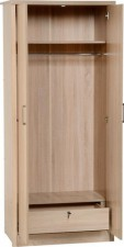 Sonoma light oak effect 2 door wardrobe with locking drawer
