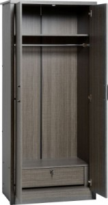 Sonoma grey dark oak effect 2 door wardrobe with locking drawer