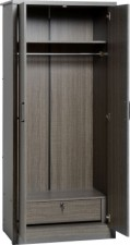 Sonoma dark oak effect 2 door wardrobe with locking drawer