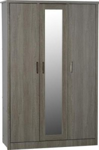 Sonoma grey dark oak effect 3 door wardrobe with locking drawer
