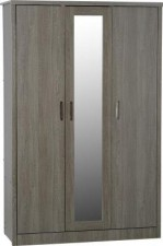 Sonoma dark oak effect 3 door wardrobe with locking drawer
