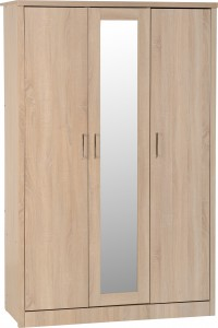 Sonoma light oak effect 3 door wardrobe with locking drawer
