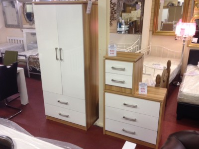 Conrad white gloss 2 door 2 drawer wardrobe
